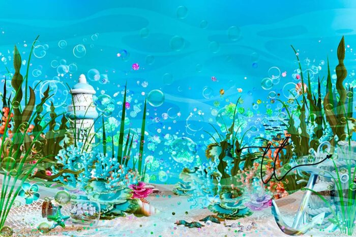 Backdrop featuring underwater scene with anchor and other shiny items