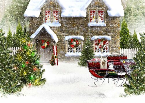 Christmas House Backdrop with Sleigh