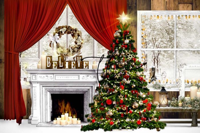 Christmas backdrop with red accents