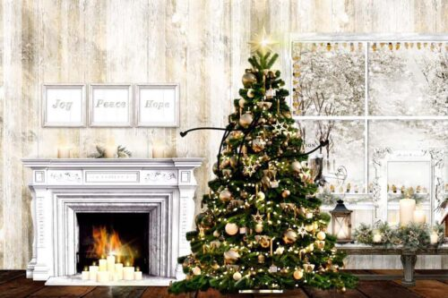 Christmas backdrop featuring gold accents