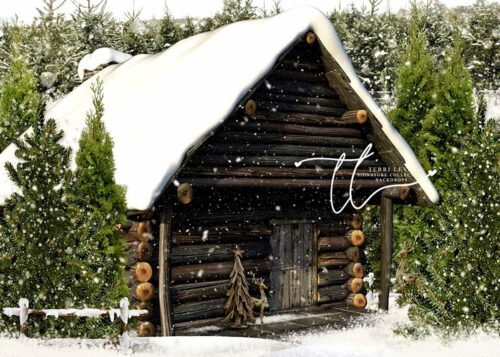 Photography backdrop featuring a log cabin in the snow
