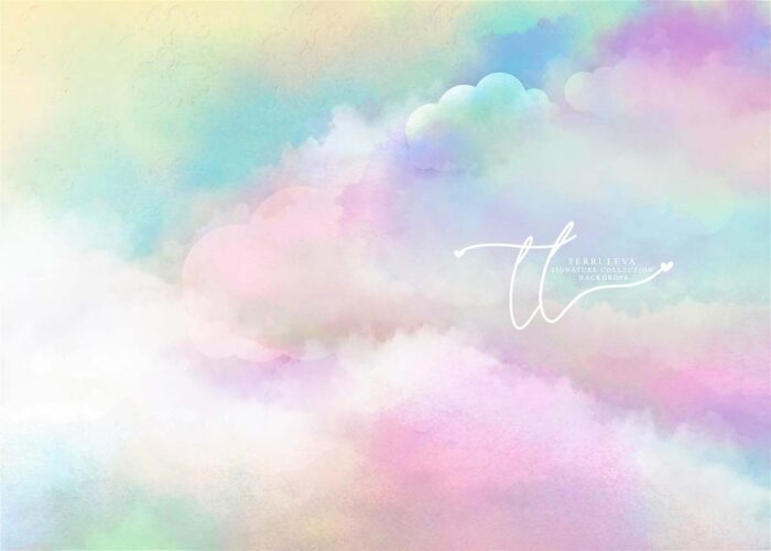 Magical Sky backdrop featuring colourful pastel clouds