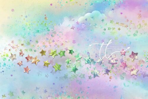 Magical Sky backdrop featuring colourful pastel clouds and stars