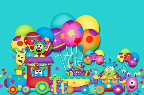 Monster birthday themed backdrop