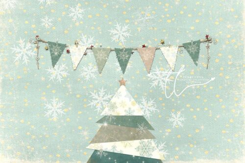 Backdrop featuring greens & yellows with snowflakes & christmas tree