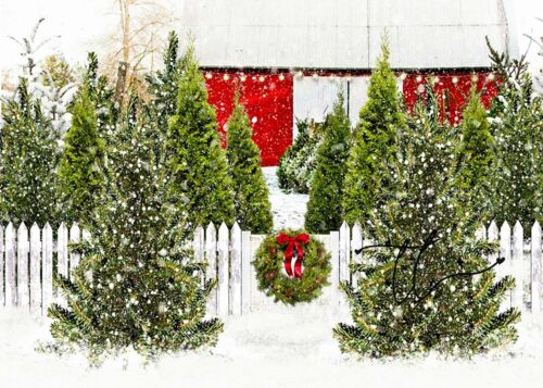 Backdrop featuring a tree farm with wreath on fence