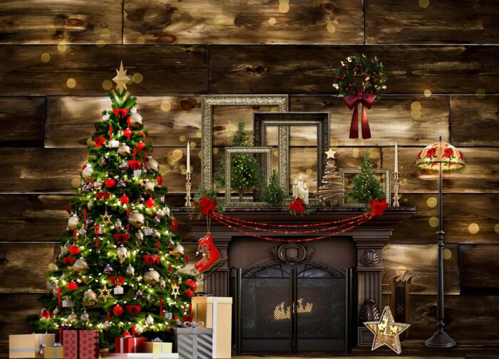 Vintage Christmas Backdrop in dark browns
