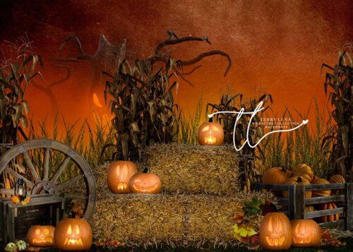 Halloween Themed backdrop featuring hay bales and pumpkins