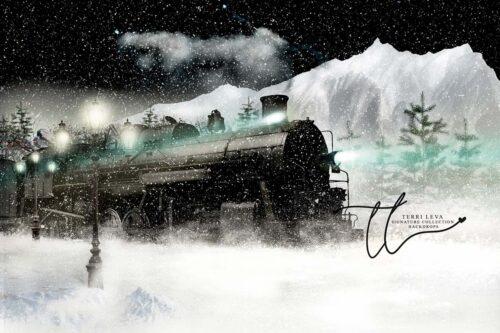 Polar Express themed backdrop