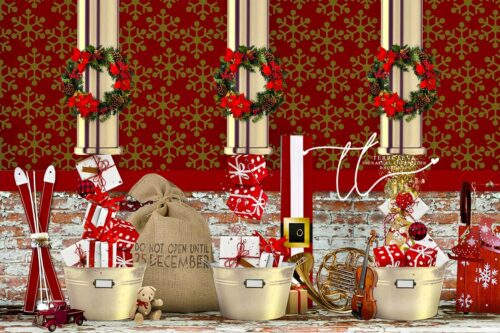 Backdrop of Santa's Workshop filling pressents