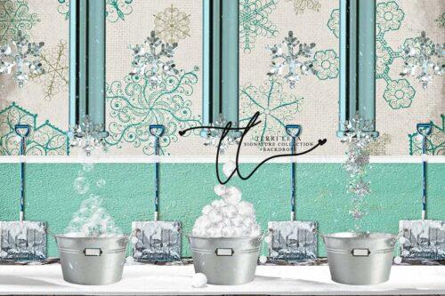 Backdrop featuring snowballs