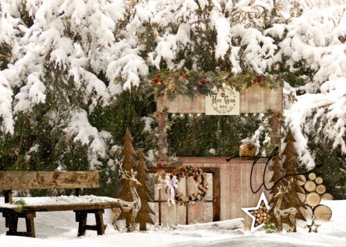 Hot Cocoa Bar Winter Backdrop