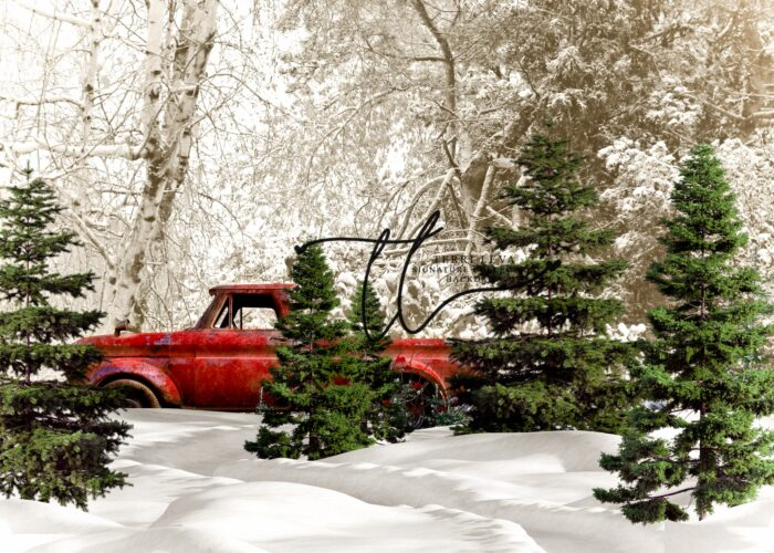Winter Backdrop with Red Pickup Truck in the Trees