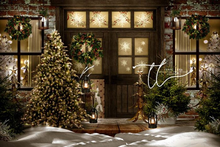 Christmas Porch decorated with golden accents
