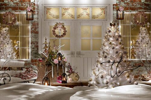 Christmas Porch decorated with rose gold accents