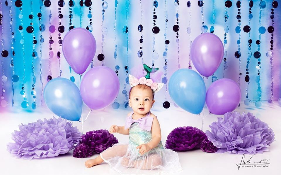 First Birthday Photo Session with Bubble Curtain Backdrop