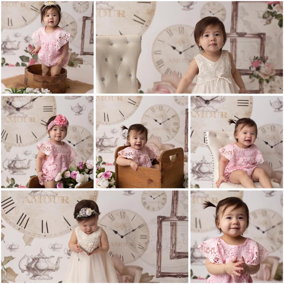Toddler Photo Session with Tea Time Backdrop