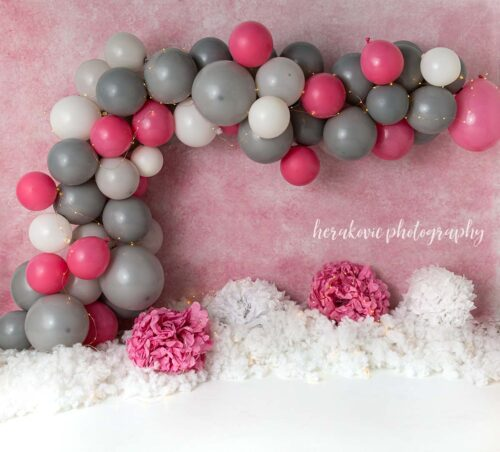 Pink & Grey Balloon Arch Photography Backdrop