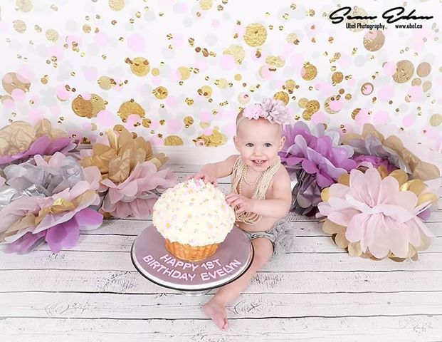 1st Birthday Photo Shoot with Birthday Confetti Backdrop
